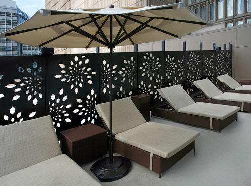 A Parasoleil Screen System by the pool at the Sheraton Denver Downtown Hotel